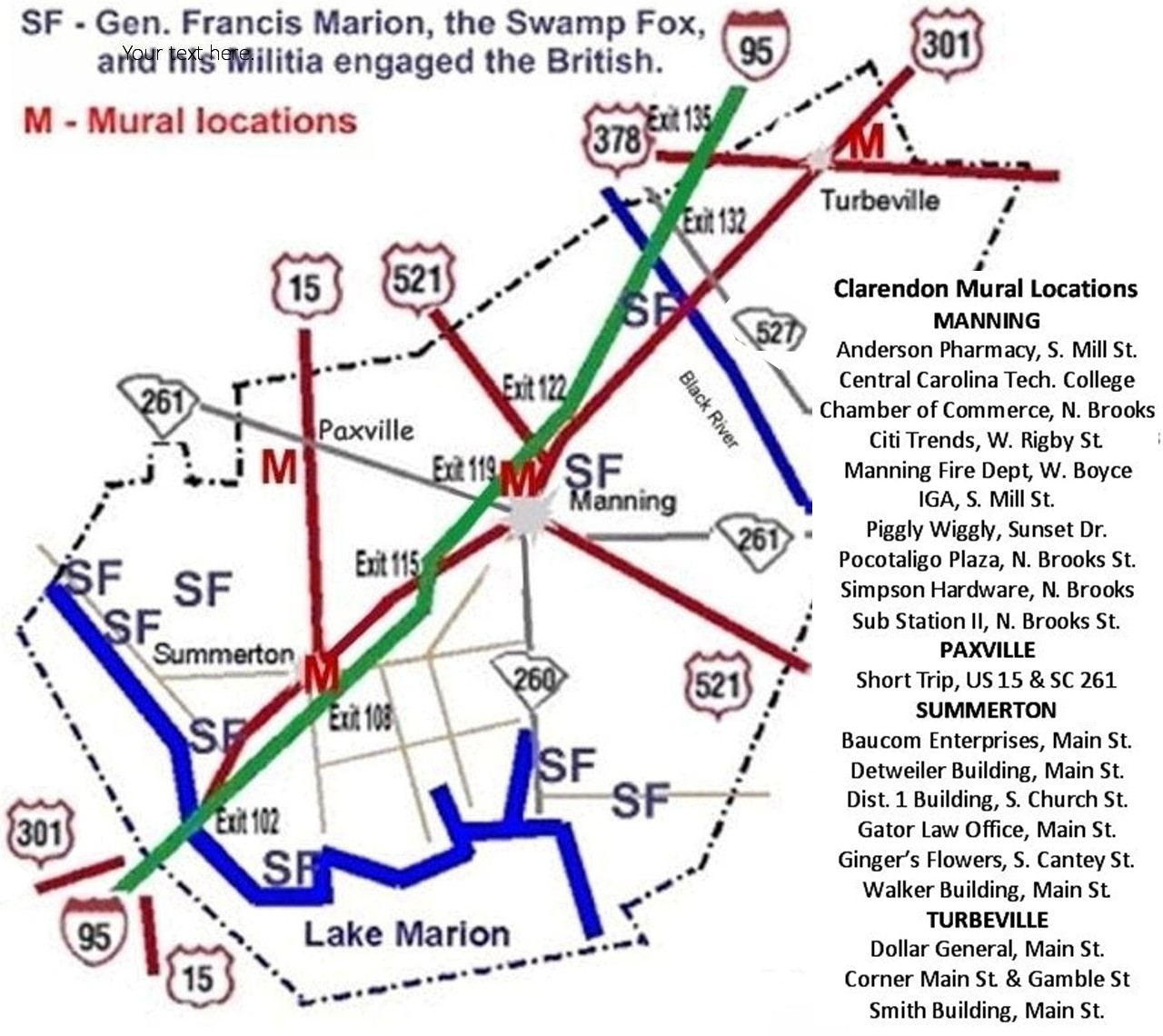 Francis Marion, Swamp Fox Murals are marked in red in 4 towns in Clarendon County, SC