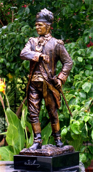 Francis Marion statue shows in great detail Marion's look in 1782